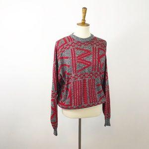 VTG Geometric Black Red Grandpa Sweater